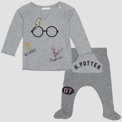 Baby Boys' Harry Potter 2pc Long Sleeve T-Shirt and Footed Joggers with Kangaroo Pocket Set - Gray 3-6M