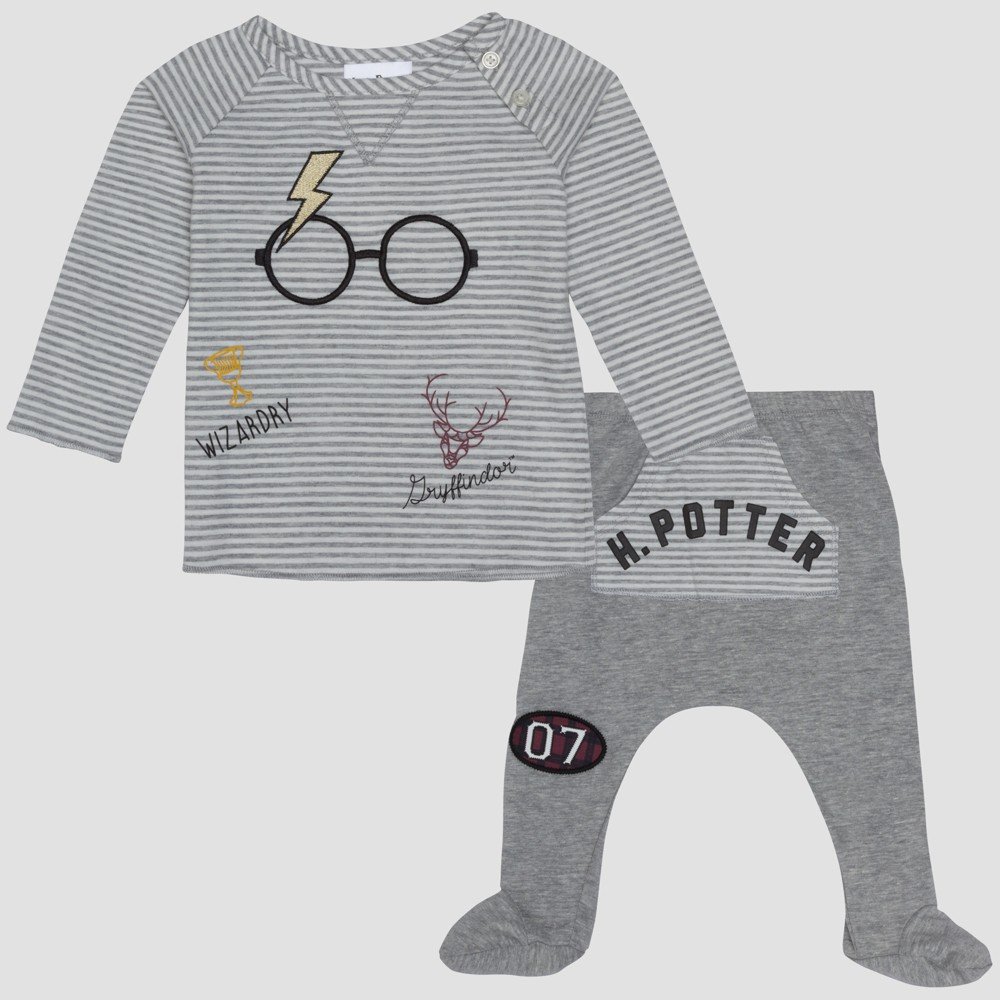 Baby Boys' Harry Potter 2pc Long Sleeve T-Shirt and Footed Joggers with Kangaroo Pocket Set - Gray 12M