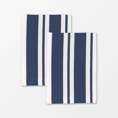 Set of 2 Cotton Stripe Cloth Navy - MU Kitchen