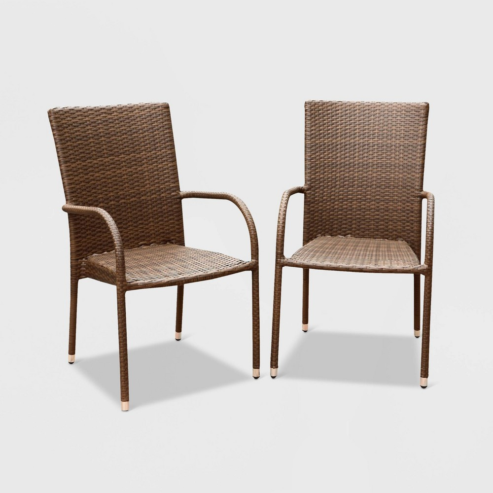 Manchester Outdoor Brown Wicker Dining Armchair (Set of 2)