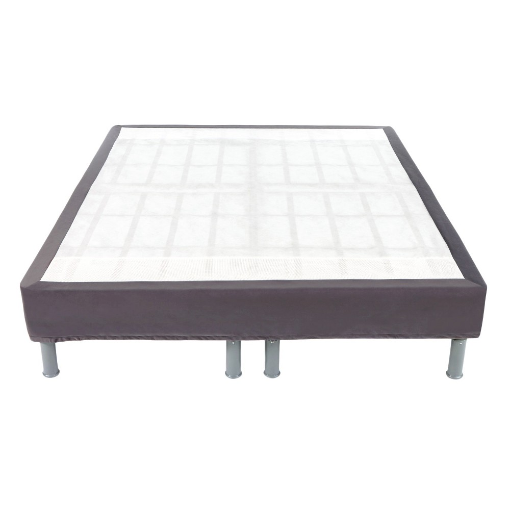 "Image of ""14"""" High Premium Gauge Steel Bed Frame - Brown (Full), Gray"""