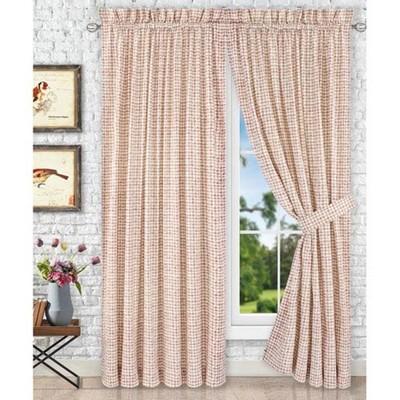"Ellis Curtain Davins High Quality 2-Piece Window Rod Pocket Panel Pairs With 2 Tie Backs - 90""x63"""