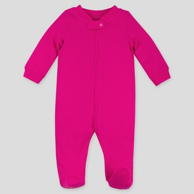 Lamaze Baby Girls' Thermal Organic Cotton Sleep N' Play Union Suit - Pink 3M