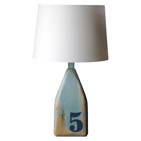 Wood Lamp with Shade - Blue - image 1 of 2