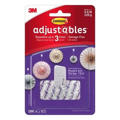 Command 1/2 lb 6pc 12 Strips Adjustable Repositionable Decorative Hooks