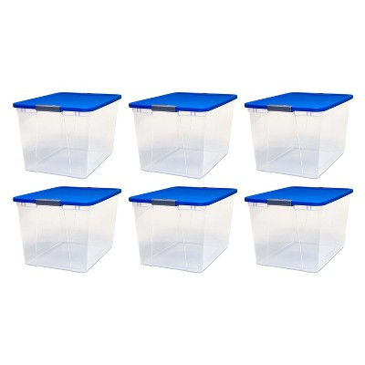 Homz 64 Qt Secure Latch Large Storage Container Bin w/ Blue Lid, Clear (6 Pack)