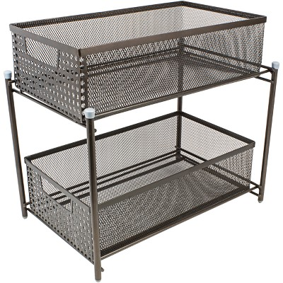 Sorbus 2 Tier Organizer Baskets with Mesh Sliding Drawers Bronze