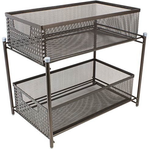 Enjoyable Sorbus 2 Tier Organizer Baskets With Mesh Sliding Drawers Bronze Home Interior And Landscaping Oversignezvosmurscom