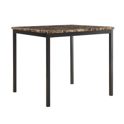 "36"" Devoe Square Counter Height Dining Table Marble Brown/Black - Inspire Q"