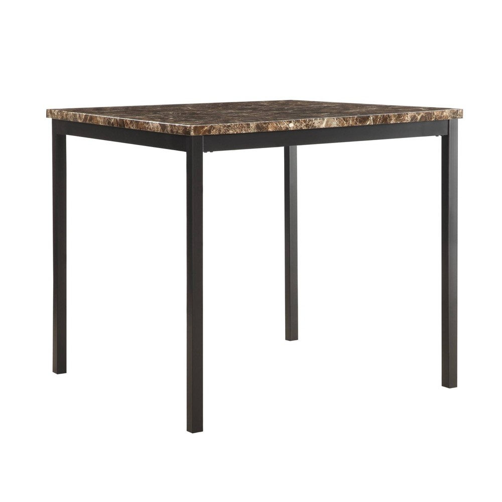 36 Devoe Counter Height Dining Table Marble Brown/Black - Inspire Q