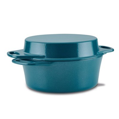 Rachael Ray 4qt Cast Iron Dutch Oven with Griddle Lid Teal