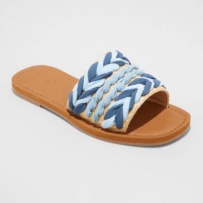 Women's Eve Square Toe Raffia Slide Sandals - Universal Thread™
