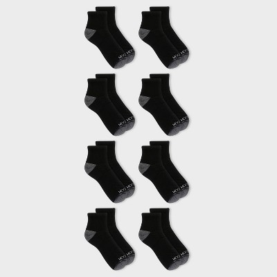 Fruit of the Loom Men's 8pk Performance Pack Ankle Socks - Black 6-12