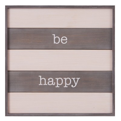 20 x20  Be Happy Rustic Wood Plank Wall Art White - Patton Wall Decor