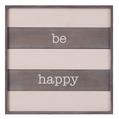 """20""""x20"""" Be Happy Rustic Wood Plank Wall Art White - Patton Wall Decor - image 1 of 4"""