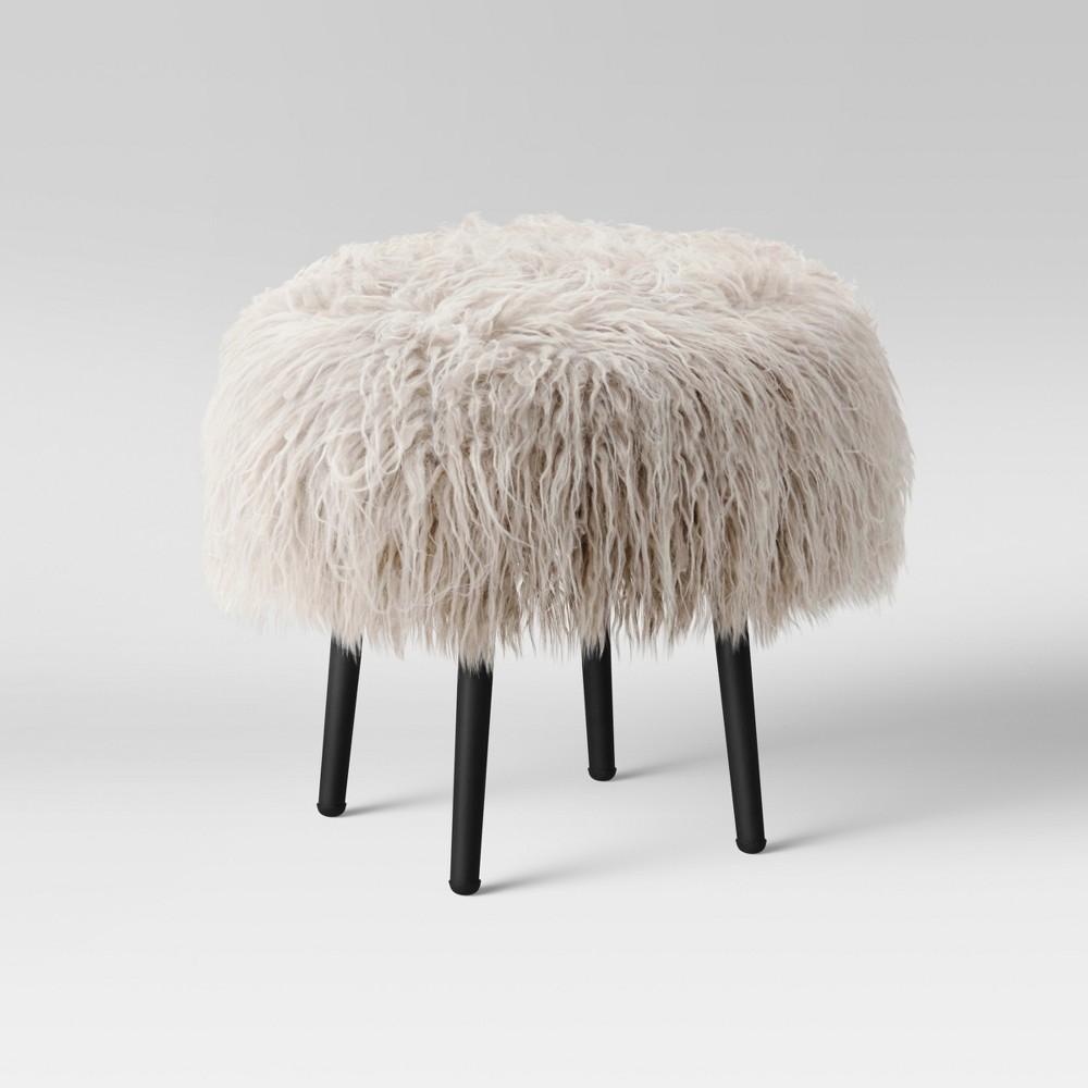 Manitoga Mongolian Faux Fur Stool Light Tan/Black - Project 62