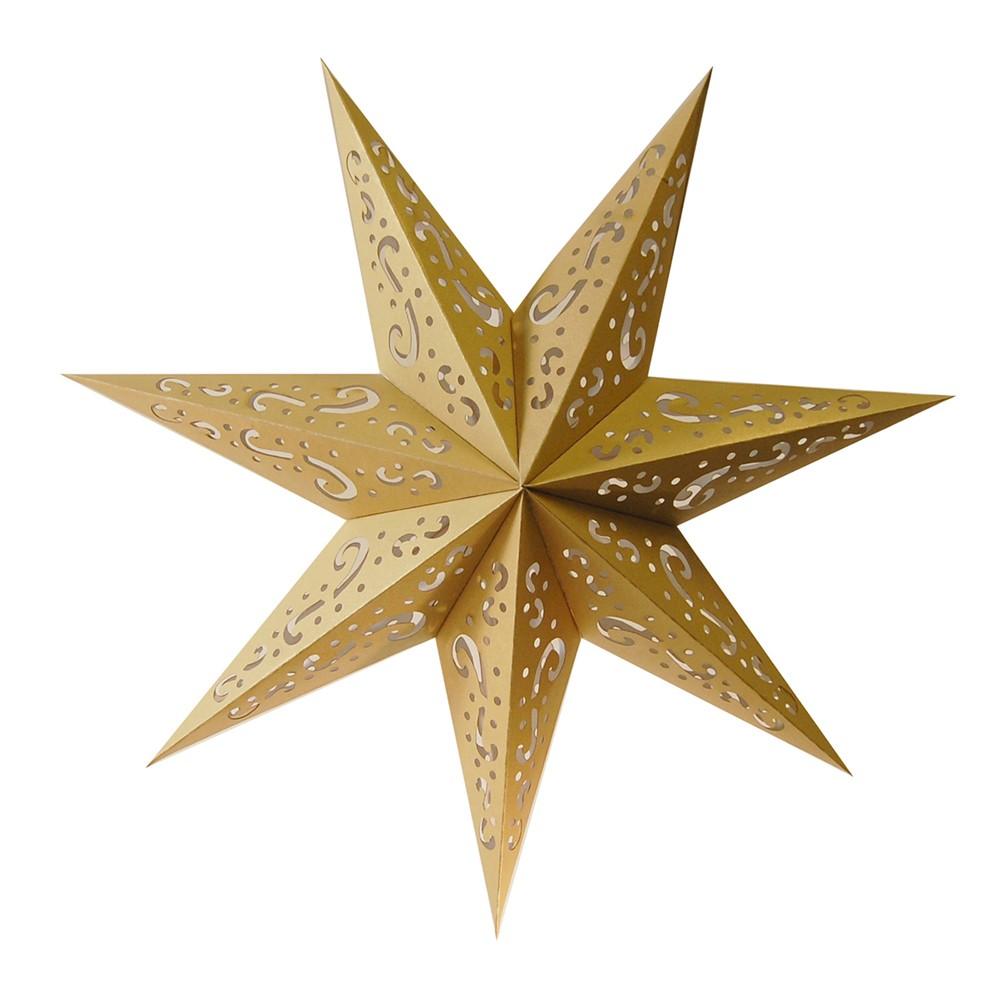 3ct Paper Lantern 7 Point Gold Star, Bright Gold