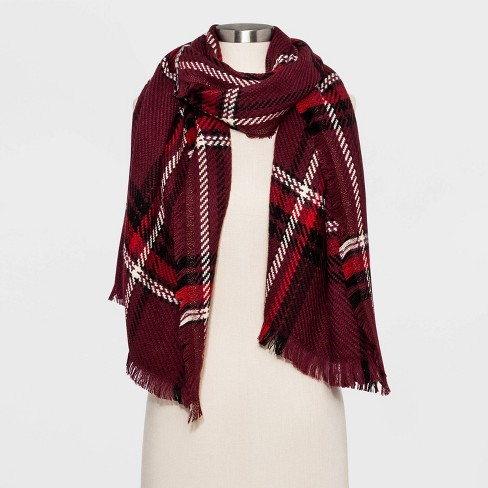 Women's Woven Plaid Oblong Scarf - Universal Thread™ Burgundy One Size - image 1 of 2