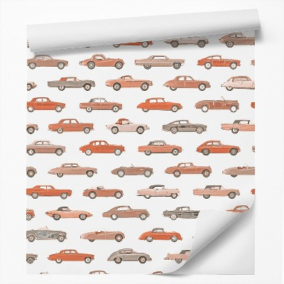 Americanflat Peel & Stick Wallpaper Roll - Red Vintage Cars Boys by DecoWorks