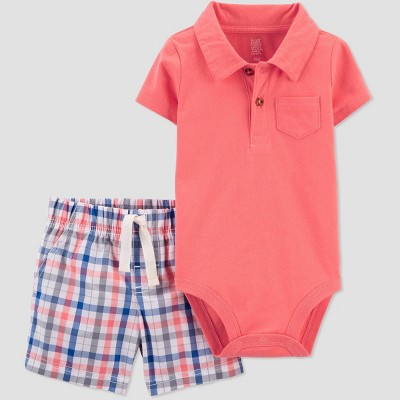 Baby Boys' Plaid Top & Bottom Set - Just One You® made by carter's Coral