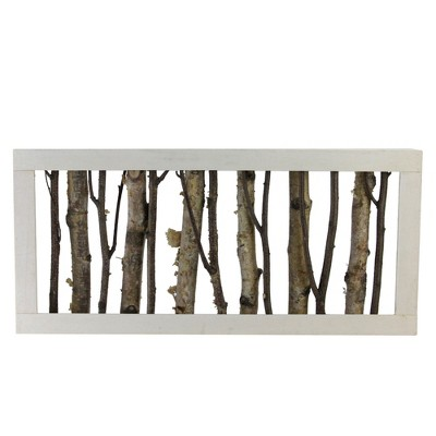 """Northlight 18.75"""" Mixed Branches in a White Wooden Frame Christmas Tabletop Decoration"""
