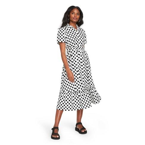 Women's Polka Dot Puff Sleeve Shirtdress - Lisa Marie Fernandez for Target (Regular & Plus) White/Black - image 1 of 4