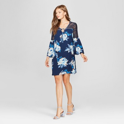 Women's 3/4 Sleeve Floral Print Lace Sleeve Shift Dress   Lux Ii   Navy by Lux Ii