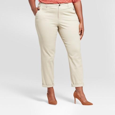 4a1f53a788e Women s Plus Size Slim Chino Pants - A New Day™ Khaki 18W   Target