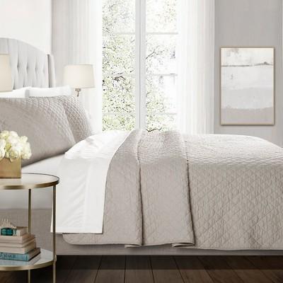 3pc Full/Queen Ava Diamond Oversized Cotton Quilt Set Gray - Lush Decor