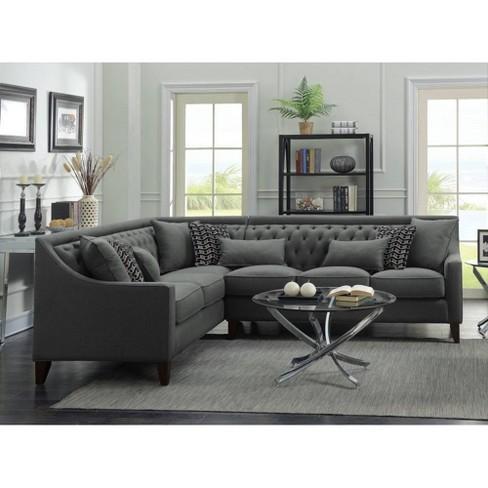 Fulla Left Facing Sectional Sofa Gray