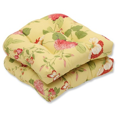 Outdoor 2-Piece Wicker Seat Cushion Set - Yellow/Red Floral