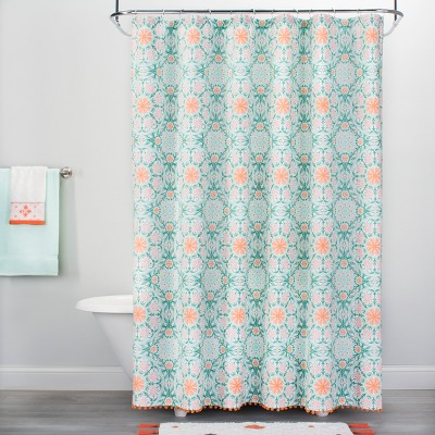 Medallion Print with Pom Fringe Shower Curtain Green/Orange - Opalhouse™