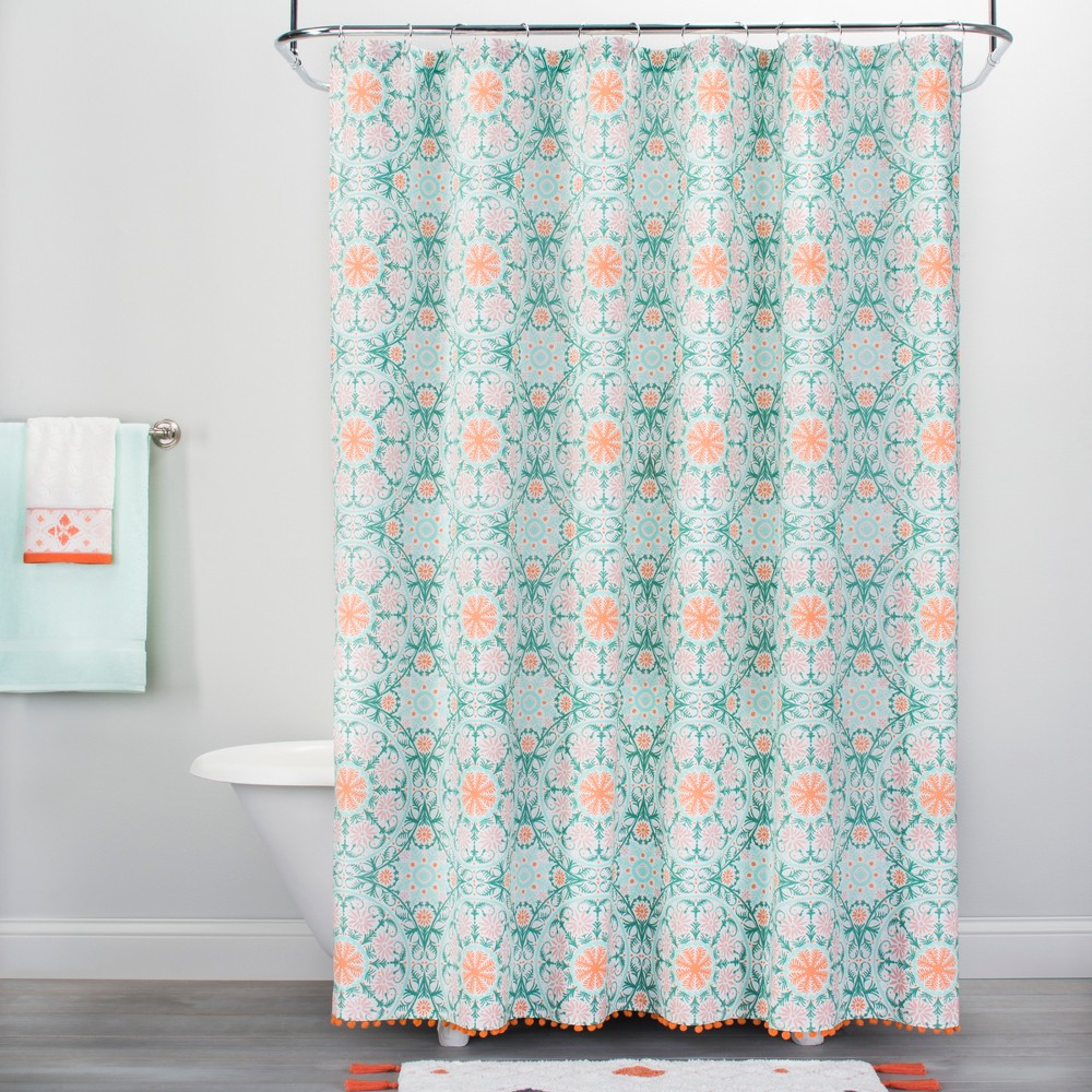 Medallion Print with Pom Fringe Shower Curtain Vapor Green/Orange - Opalhouse