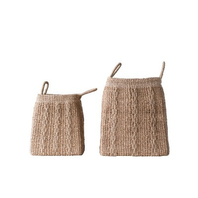 Set of 2 Decorative Square Abaca Baskets with Handles - 3R Studios