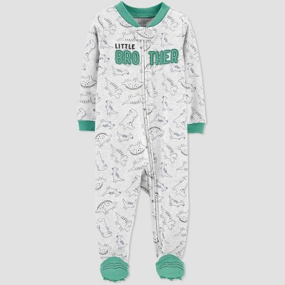 Baby Boys' Lil Bro One Piece Pajama - Just One You® made by carter's Gray Newborn