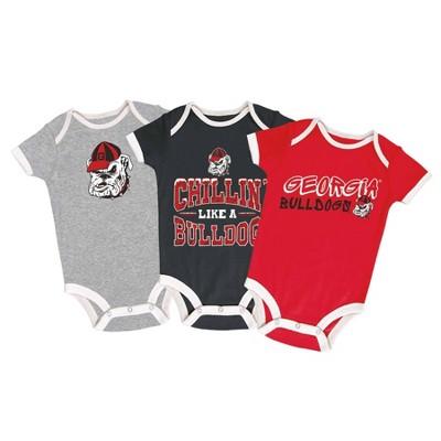 NCAA Georgia Bulldogs Baby Boys' Short Sleeve 3pk Bodysuit Set
