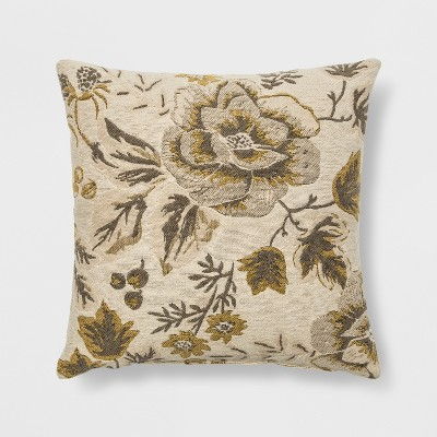 Woven Floral Square Throw Pillow Neutral - Threshold™