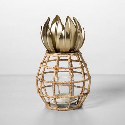 8  x 5  Pineapple Shaped Pillar Candle Holder Lantern Gold - Opalhouse™
