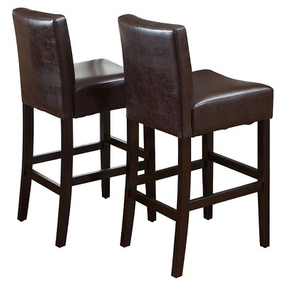 """Set of 2 29.5"""" Lopez Leather Barstools - Brown - Christopher Knight Home"""