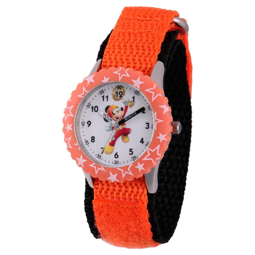 Boys' Disney Mickey Mouse Stainless Steel Time Teacher Watch - Orange, Orange Smoothie