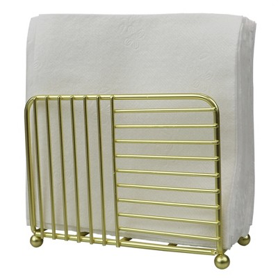Home Basics Halo Free Standing Steel Napkin Holder, Gold