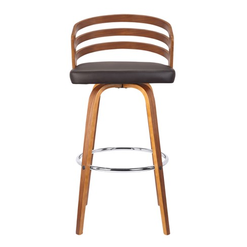 Admirable 26 Jayden Mid Century Swivel Counter Height Barstool In Brown Faux Leather With Walnut Veneer Armen Living Squirreltailoven Fun Painted Chair Ideas Images Squirreltailovenorg