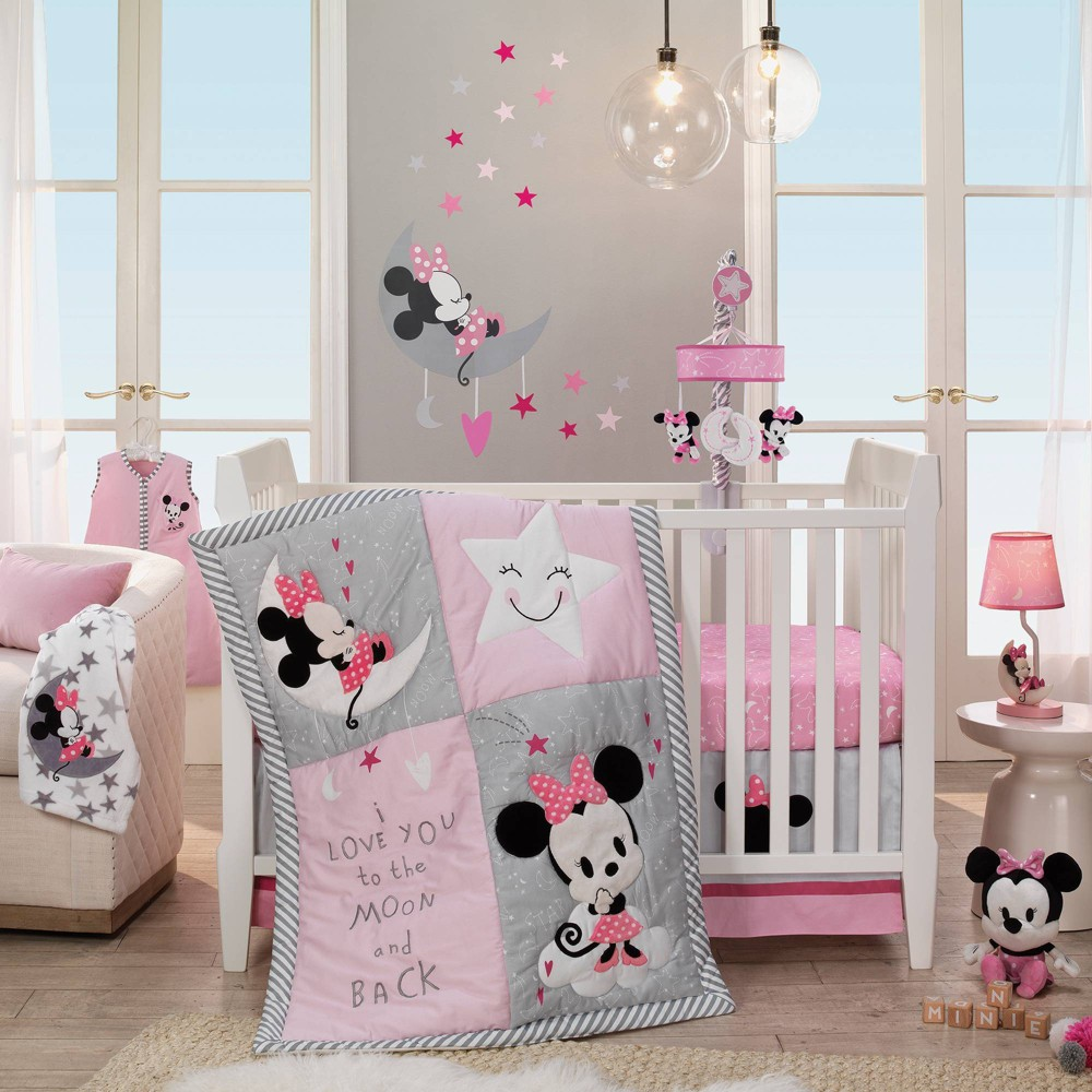 Image of Lambs & Ivy Disney Baby Nursery Crib Bedding Set - Minnie Mouse 4pc
