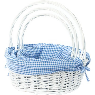 Vintiquewise White Round Willow Gift Basket, with Gingham Liner and Handle