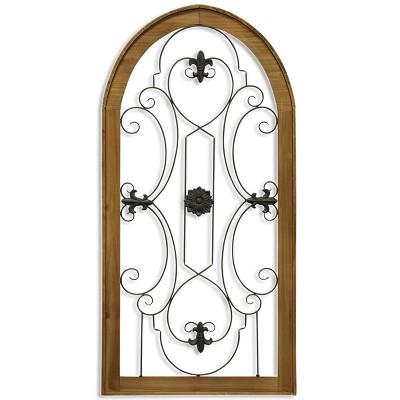 48  Metal Scroll & Wood Gate Decorative Wall Art - StyleCraft