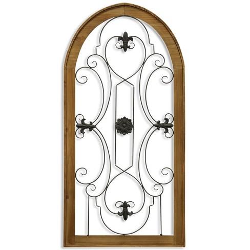 48 Metal Scroll Wood Gate Decorative Wall Art Stylecraft