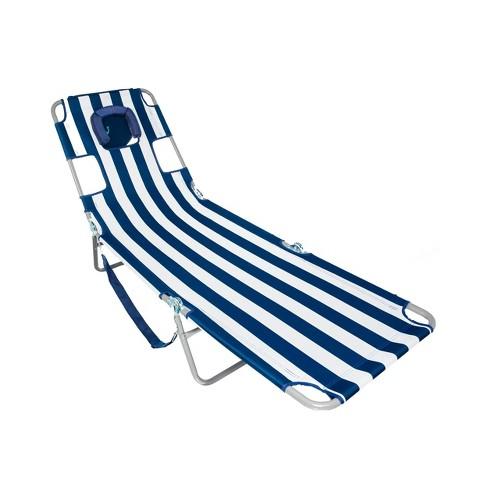 Ostrich Chaise Lounge Folding Portable Sunbathing Beach Chair, Navy Stripes