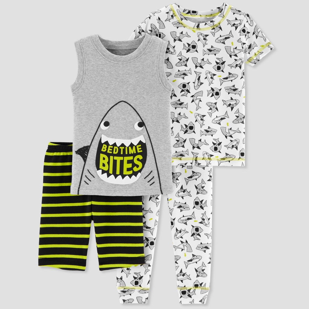 Baby Boys' 4pc Shark Pajama Set - Just One You made by carter's Gray 18M