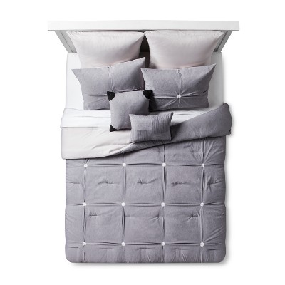 Gray Four Square Comforter Set (Queen)8pc