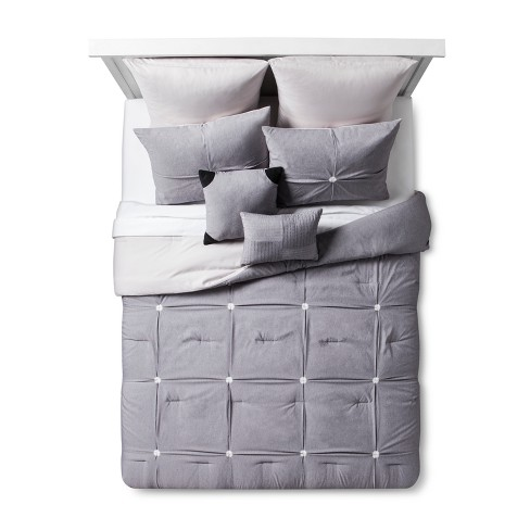 Gray Four Square Comforter Set 8pc - image 1 of 3